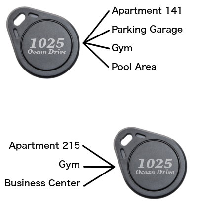 Graphic comparing two different key fobs for apartment buildings.png