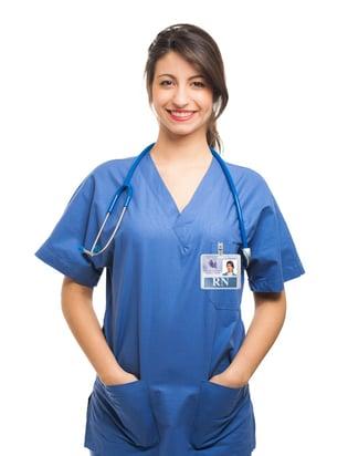 nurse wearing a badge buddy with a badge buddy holder.jpg